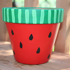 hand painted flower pots watermelon 6 inch hand painted flower pot free