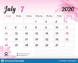 July 2020 Year Template Calendar 2020 Vector Desk Calendar