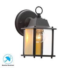hampton bay 1 light black outdoor wall lantern