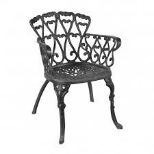 black cast iron heart scrolled garden