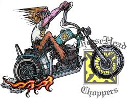 motorcycle art cartons bobber bike up cheesehead choppers