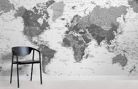 black white detailed maps room wall murals