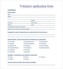 volunteer template volunteer application template 15 free word pdf documents