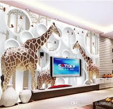 Unique 3d View Giraffe Photo Wallpaper Cute Animal Wall Mural Art Wall Decor  Paper Childrenu0027S Room Nursery Living Room Office Pc Widescreen Wallpaper  Phone ...