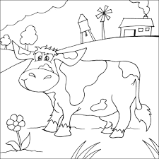 Small Picture Cow in Field Coloring Picture