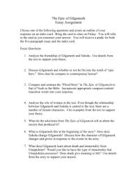 gilgamesh essay assignment nov doc the epic of gilgamesh essay questions