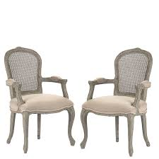 hemp fabric and recycled wood caned back arm chair french style cane chairs