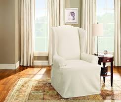 com sure fit duck solid wing chair slipcover natural sf27659 home kitchen