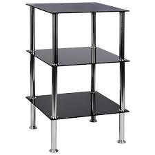 3 tier glass shelf unit black