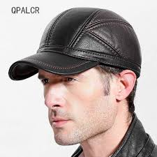 qpalcr 2018 winter mens baseball caps patchwork leather hats russia adjustable snapback flat cap warm middle aged dad hat malaysia