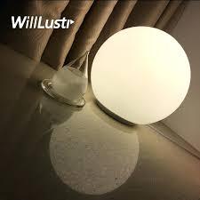 modern table lamp round globe lighting frosted milk white glass lampshade desk light in led lamps
