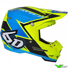 6d Atr 2 Motocross Helmet Strike Fluo Yellow Blue