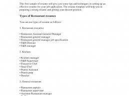Resume For A Restaurant Job Tomyumtumweb Com