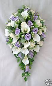 ARTIFICIAL WEDDING FLOWERS - BRIDES TEARDROP BOUQUET IN IVORY & BABY BLUE  ROSES