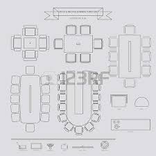office lighting plan. Office And Conferance Business Outline Furniture Icon, Top View For Interior Plan Illustration Lighting