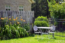 wood vineyard white farm lawn villa house morning flower chair summer spring green backyard patio two set furniture garden gate