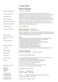 Retail Manager Resume Template Retail Manager Cv Template Resume Examples  Job Description Templates