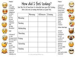 Mood Chart With Faces Smiley Feelings Chart Feelings