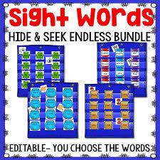 Sight Word Hide Seek Pocket Chart Cards Endless