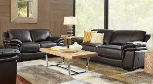 black leather living room furniture.  Leather Cindy Crawford Home Grand Palazzo Black Leather 3 Pc Living Room   Rooms Black Intended Furniture T
