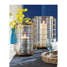 tag oxidized brass wire and clear glass large hurricane candle holder
