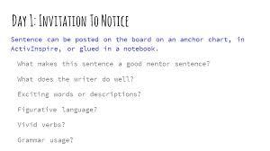 Mentor Sentence Anchor Chart Mentor Sentences Teacher Guide Ppt Video Online Download