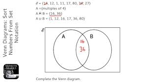 Venn Diagram And Set Notation Venn Diagrams Sort Numbers From Set Notation Grade 5 Onmaths Gcse Maths Revision