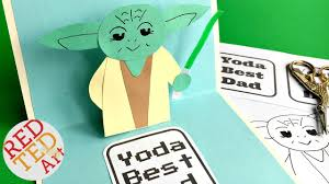 easy pop up father s day card 3d yoda card diy star wars paper crafts