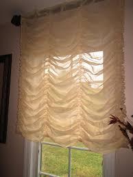 austrian balloon shade curtain stationary in cream sheer fabric easy install onto rod