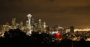 Seattle Cityscape Night Time Skyline In Seattle Washington Image Free Stock