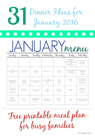 31 Days Of Dinners: A Meal Plan For January (Free Printable) - The ...