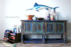 blue console table. Rustic Boho Console Table Hand Painted In A Palette Of Coastal Waters Blue L