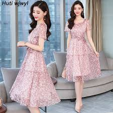 <b>Summer New</b> Vintage Plus Size Floral Chiffon Sundress 2019 ...