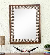 Solid Wood Wall Mirror In Brown Color By Artisans Rose