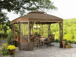 DIY:Elegant Outdoor DIY Canopy Idea Charming Brown Gazebo In Graded Roof  Style Filled With