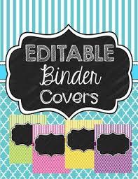 Chalkboard Binder Covers Editable