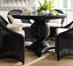 palmetto all weather wicker round pedestal dining table black