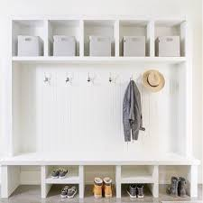 Mudroom necessities! Storage, hooks, and a bench! | Designed by ...