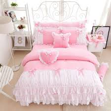 3 cotton pink princess bedding set lace edge solid pink and white color twin queen king bedroom set duvet cover bed skirt duvets covers cotton bedding from