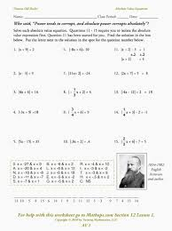 absolute value equations and inequalities worksheet av 1 absolute value expressions and equations mathops