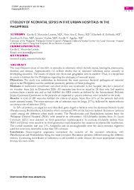 Pdf Etiology Of Neonatal Sepsis In Five Urban Hospitals In