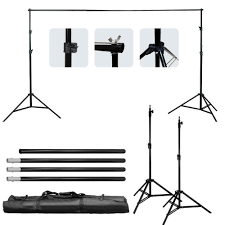 com limostudio photo studio four light head continuous lighting softbox boom stand kit with white black green muslin backdrop