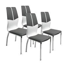 Esszimmerstuhl Fremont 31 4er Set Kombi Kunstleder Grau Weiß 40x100x50cm
