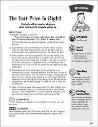 The Unit Price Is Right Finding Unit Prices Division Activity