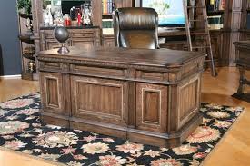 aria double pedestal executive desk in antique vintage smoked pecan finish by parker house ari 480 3