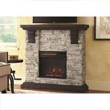 media console electric fireplace tv stand in faux stone gray