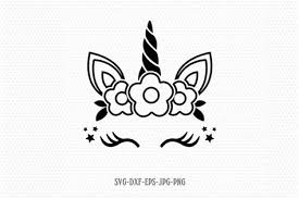 Black, red and white vectors. Cute Unicorn Face Svg Drone Fest