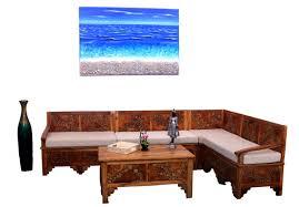 teak wood small log design l shape sofa set
