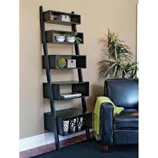 ... Bookshelf, Linea 5 Tier Leaning Black Wall Shelves Ideas For Living  Room Furniture: amazing ...