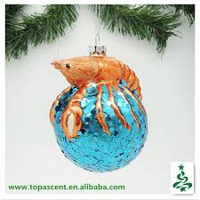 2014 swinging christmas blown glass fish ornament - lobster crawling on  ball decorative items from direct